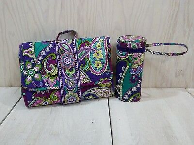 Vera Bradley Baby Bundle In HEATHER Changing Pad Clutch & Insulated Bottle Caddy