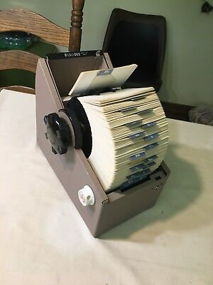 Vintage Rolodex rotary metal card file round 3502-S WITH CARDS