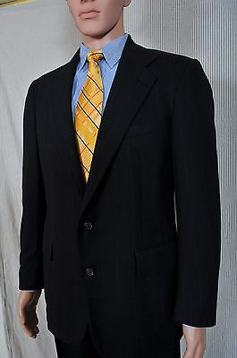 Vintage '90s Ralph Lauren Polo Navy blue pinstripe wool 2 button suit 39 31X29