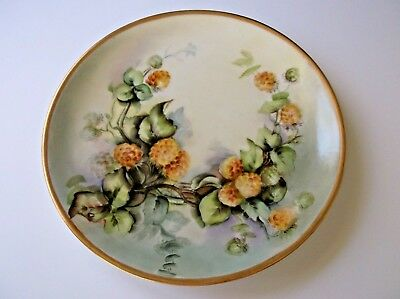 Vintage Limoges France Hand Painted Collector Cabinet Plate Signed Shellberg