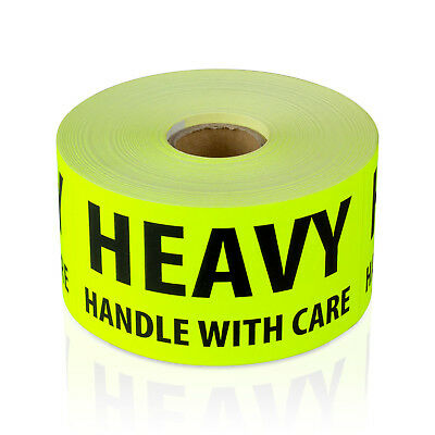 Pack of Caution Heavy Packing Box Stickers Sticky Labels 80 x 103mm rosso