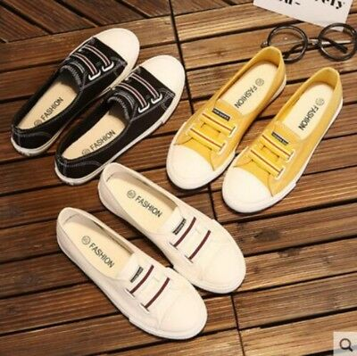 Womens Canvas round toe comfortable Korean style slip on summer flat heel shoes