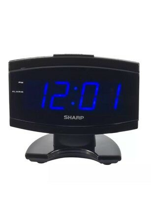 Home Sharp Blue Led Large Display Digital Electric Alarm Clock With Snooze Black