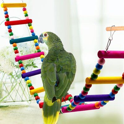 Wooden Hanging Pet Bird Parrot Ladder Macaw Cage Swing Shelf Bites Play Toys