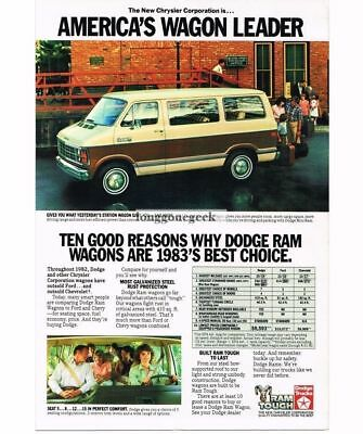 1983 Dodge Mini Ram Wagon Van Vtg Print Ad