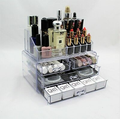 Cosmetic Organiser 4 Drawers Clear Acrylic Jewellery Box Makeup Storage Case sta