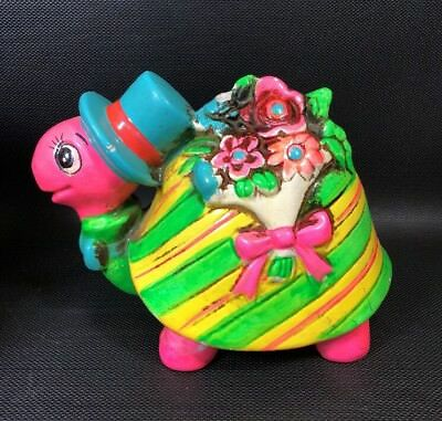 Holiday Fair Vintage Chalkware Coin Still Bank Retro Turtle Neon Color 14M