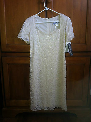 Jessica Howard Size 10 Champagne Ivory Lace White L Dress