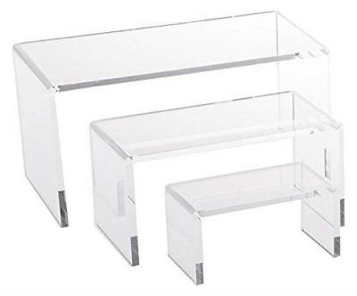 Jusalpha Small Clear Acrylic Riser Set Showcase for Jewelry, Display Stand