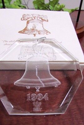 1994 B & W Brown & Williamson Clear Liberty Bell Christmas Ornament Original Box
