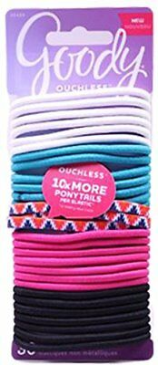 30 Count Goody Ouchless No Metal Elastics Hair Ponytail Holders, Assorted Colors