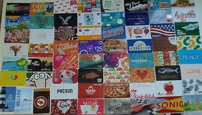 Collectible Gift Card LOT of 63 Different Cards - Food Fashion - No $ Cash Value
