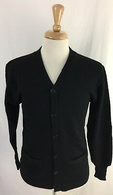 Vintage 50s Stadium Shaker Black Sweater Pure Knit Wool Varsity Cardigan