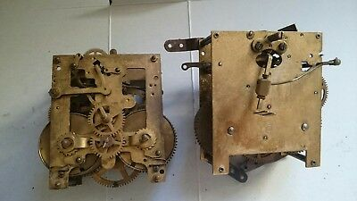 Antique clock movements x 2 for spares or repairs