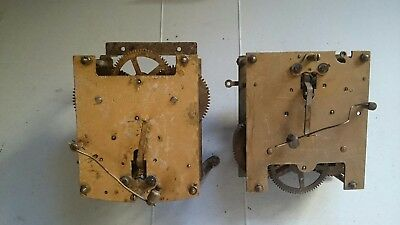 Antique brass clock movements x 2 spares/repairs