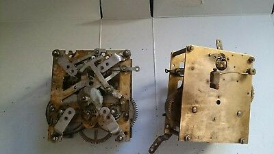Antique clock movements x2  for spares or repairs