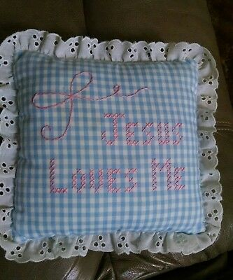 "Baby or Young Child's Decorative Pillow ""Jesus Loves Me"""