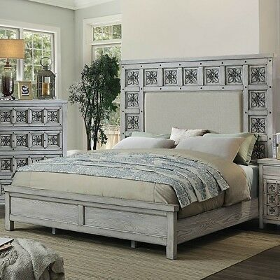 Est King Size Bed Bedroom Tall Padded Fabric Headboard Poly Resin Inlay Design