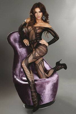 Sexy Lingerie Body Stocking Open Crotch Fishnet Fetish Body Suit Black Plus Size