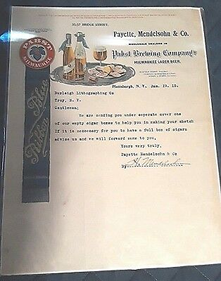 Pabst Blue Ribbon Beer Letterhead and Letter 1915 superior quality