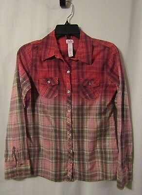 Justice Pink Ombre Plaid Long Sleeve Button Down Shirt Girls Size 16