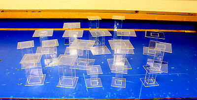 18 Lot Clear Acrylic Pedestal Display Risers Mixed Sizes