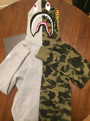842cc828c9c4 Men s A Bathing Ape Bape Split 1st Camo Green Full Zip Shark Hoodie RARE