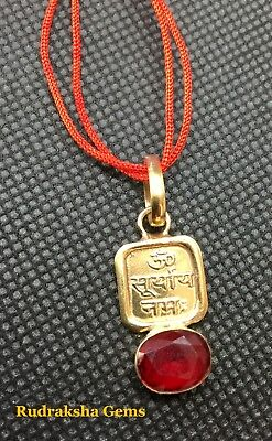 Surya Sun Yantra Mantra Red Spinel Pendant Necklace Gem Nine Planet With Cord Om