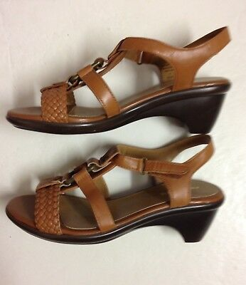 Women's Easy Spirit Wedge Heel Leather Sandal Shoe Adj Strap 6.5 Brown Brand New