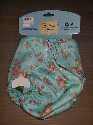 Buttons Cloth Diaper Cover Flowers Blue & Pink One-Size