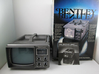Vintage Bentley Portable Black & White 5 Inch Television Battery Operated TV