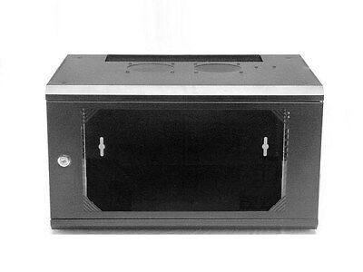 6U 400mm wall mount cabinet rack, glass door W/lock, Black, Assembly Required