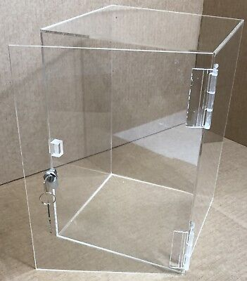 "9"" x 9"" x 20.5"" Acrylic Locking Doll Case Collectible Case Acrylic Display Case"