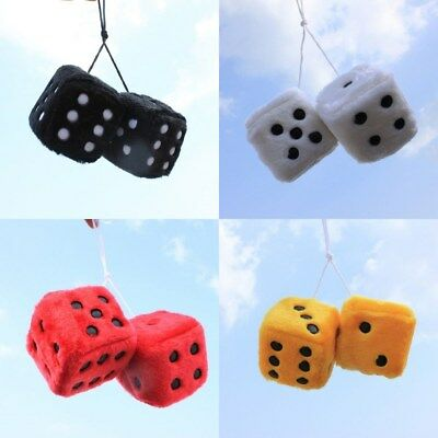 Overig Auto: accessoires Sumex White & Black Soft Fluffy Furry Car & Home Hanging Mirror Spotty Dice #10