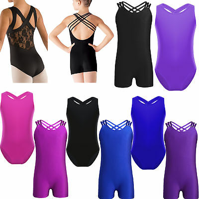 Kids Girls Gymnastics Leotard Dress Ballet Dance Tutu Skirt Bodysuit Dancewear