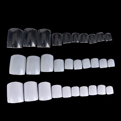 500 Acrylic False Fake Artificial Toe Tips for Nail Art Extension Pedicure Clear