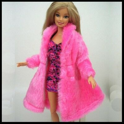 Barbie Doll Clothes Pink Synthetic Fur Coat/Clothing/Outfit/Jacket/Winter