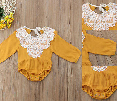 Toddler Baby Kids Girls Summer Clothes Long Sleeve Lace Jumpsuit Romper Outfits