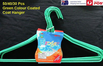 New Green Wire Hangers 30 40 50 Pcs  Coat hangers PVC Colour Bulk Clothes Shirt