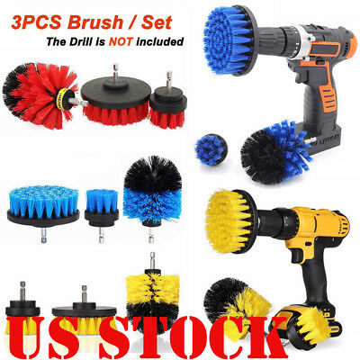 US 3Pcs/Set Tile Grout Power Scrubber Cleaning Drill Brush Tub Cleaner Combo Hot