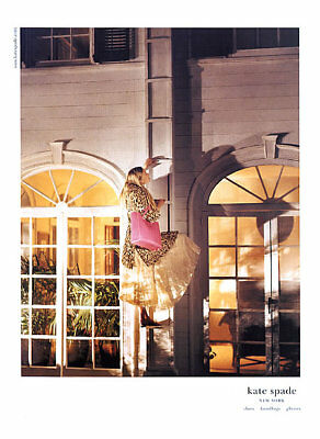 2004 Kate Spade woman on ladder with handbag MAGAZINE AD