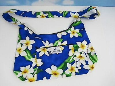 LOCAL DESIGN Made In Hawaii Cotton CANVAS TOTE BAG BLUE Floral NWOT