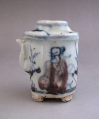 Old Chinese Underglaze Red Blue and White Porcelain Water Dripper /Water Dropper