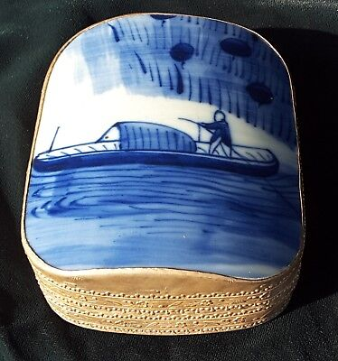 Antique Chinese Blue & White Pottery Shard Box w Silver Plate