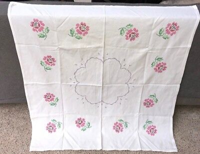 Vintage Hand Embroidered Linen Table Cloth  SPRING PINK FLOWERS