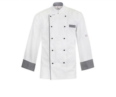 Executive Chefs Lightweight Vented Jacket With Checked Detail-Long Sleeve-Large