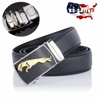 Fashion Men's Automatic Buckle Real Leather Ratchet Belt Strap Jeans Waistband