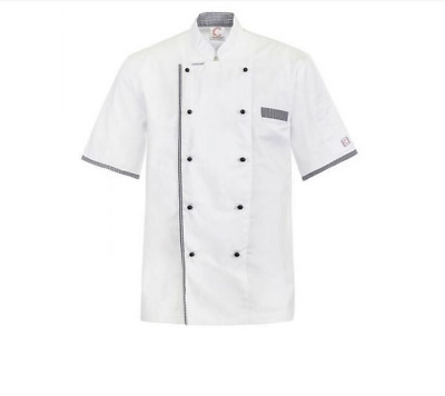 Executive Chefs Lightweight Vented Jacket With Checked Detail-Short Sleeve Lrg
