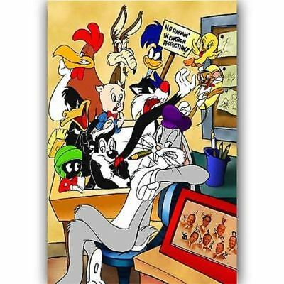 New Bugs Bunny And Mickey Mouse Smoking Custom Silk Poster Wall Decor 24x36 Inch