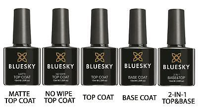 Bluesky Gel Nail Polish Soak Off Base Coat Matte No Wipe Top Coat UV LED Gel Top